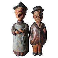 Antique German, Black Forest Bottle Opener Corkscrew Set, Hand Carved Comical Men