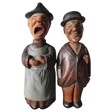 Antique German, Black Forest Bottle Opener Corkscrew Set, Hand Carved Comical Men