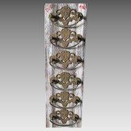 6 Antique Art Nouveau Handles, Drawer Pulls, 19thC Victorian Hardware
