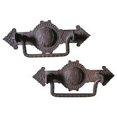8 Antique Aesthetic Movement Handles, Drawer Pulls with Bird Motif