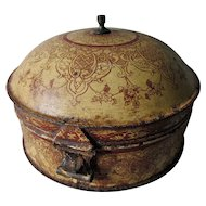 Lovely Antique French Toleware Spice Box, Tin Tole Storage Box