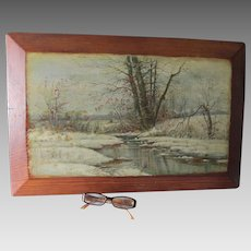 Peaceful Antique Oil Painting of a Snowy Landscape with Stream