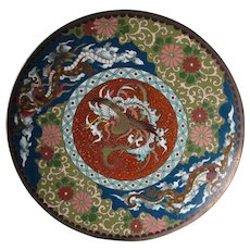 Antique Japanese Cloisonne Plate with Phoenix Bird & Dragons