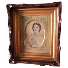 c1880 Walnut Victorian Picture Frame, Gold Liner, Ink Illustration Portrait