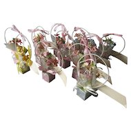 12 Art Deco Place Card Party Favors, Basket's of Flowers