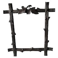 Antique Folk Art Hand Carved Picture Frame with Tree Bark Motif