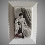 Rare c1880s Antique Ironstone Platter with Portrait of Actress Lillie Langtry