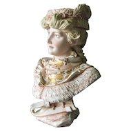 Lovely Antique Royal Rudolstadt Victorian, Edwardian Bisque Bust