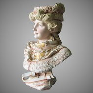 Lovely Antique Royal Rudolstadt Victorian, Edwardian Bisque Bust