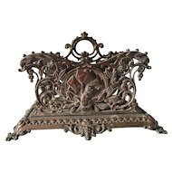 Lovely Antique Victorian Letter Holder with Cherub Angel and Gargoyles