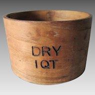 Primitive Antique Signed 1 Quart Measure by Frye, Wilton New Hampshire