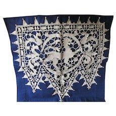 Vintage Italian Point de Venise Lace Panel with Gargoyle, Dragon Motif