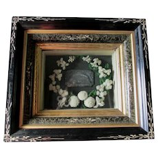 c1880s Victorian Mourning Shadowbox with Wool Flowers & Casket Name Plate