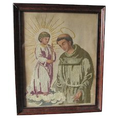 Antique Punched Paper Sampler with Jesus and Saint, Christianity Needlework