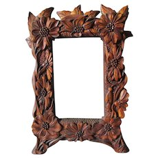 Antique Folk Art Hand Carved Mirror or Picture Frame with Flower Motif
