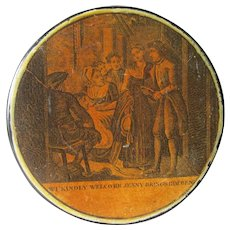 c1840s Paper Mache Snuff Box Depicting Cotter's Saturday Night Poem by Burns