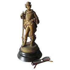Antique c1880s Sculpture of a European Hunter or Soldier