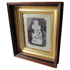 Antique c1880 Deep Walnut Picture Frame with Beautiful Gilt Gold Liner