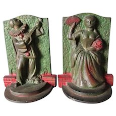 Art Deco Pierrot & Lady Bookends, Circa 1920-30s, Original Paint