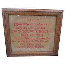 19thC Motto Sampler Quotation, LOST, by Horace Mann, Teacher & Abolitionist