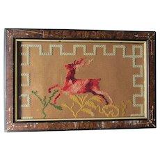 Antique Punched Paper Sampler Leaping Stag, Deer, 19thC Folk Art