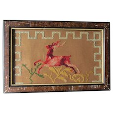 Antique Punched Paper Sampler Leaping Stag, Deer, 19thC Folk Art