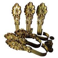 6 Gilt Brass Edwardian Curtain, Drape Tiebacks, Elegant Home Decor
