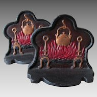 Pair Antique Figural Fireplace Hearth Cast Iron Bookends