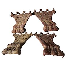 Set of 4 c1890s Antique Cast Iron Lion Paw Feet, Architectural, Furniture