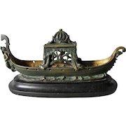 Antique Bronze & Marble Incense Burner, Gondola with Merman