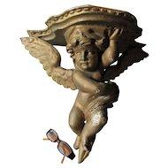 Hand Carved Antique Figural Cherub Angel Shelf, Victorian Wall Shelf