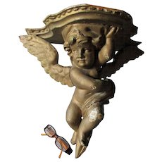 Hand Carved Antique Figural Cherub Angel Shelf, Victorian Wall Shelf