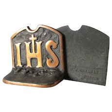 Pair Vintage IHS Christianity Bookends, Cast Iron, Signed
