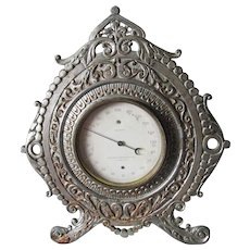 Antique Victorian Desk Top Thermometer  in Lovely Cast Iron Frame