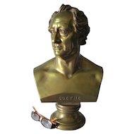 Large Antique Bronze Bust of German Writer Johann Wolfgang von Goethe