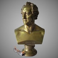 Large Antique Bronze Bust of German Writer Johann Wolfgang von Goethe
