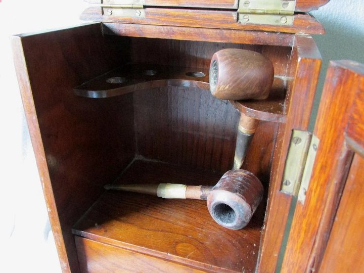 Antique Art Nouveau Pipe Case, Smoking Cabinet, Oak Box