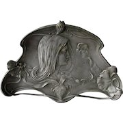 Lovely Antique Art Nouveau Tray with Lady and Poppy Flowers