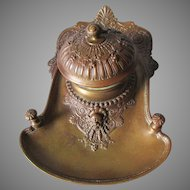 Antique c1880 Bronze Inkwell with Gargoyle & Snail, Desk Accessory, Pen Holder