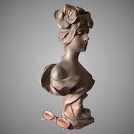 Antique French Art Nouveau Sculpture of a Lovely Lady, Anton Nelson, Paris