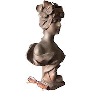 Antique French Art Nouveau Sculpture of a Lovely Lady, Anton Nelson, Paris