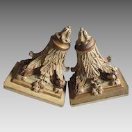 Lovely Pair of Antique Shelves with Acanthus Leaf Motif, Original Paint