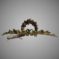 Antique Gilt Bronze Architectural Element with Roses & Ribbon