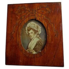 Antique Miniature Portrait of a Lady, Signed Roi with Inlaid Picture Frame