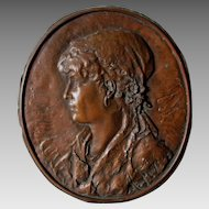 Nice 19thC Antique Plaque of a Gypsy Lady, Signed