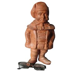 Antique European Figural Man with Cigar Tobacco Humidor, Terra Cotta