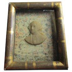 Antique c1870 Miniature Wax Portrait of George Washington