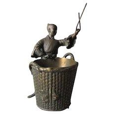 Antique Asian Bronze Sculpture of a Gentleman with a Basket