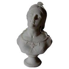 Antique 19thC Parian Porcelain Bust of Saint Cecilia, Christian Saint of Music