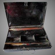 Antique 19thC Toleware Paint Box, Traveling Artist Box